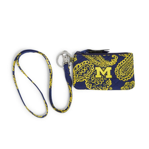 University of Michigan - Iconic Zip ID Lanyard-Navy/Var. Gold Bandana Univers