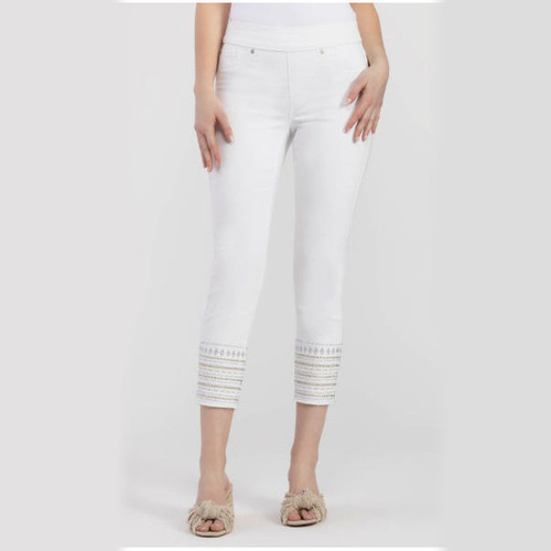 White Embroidered Pull-On Jeggings