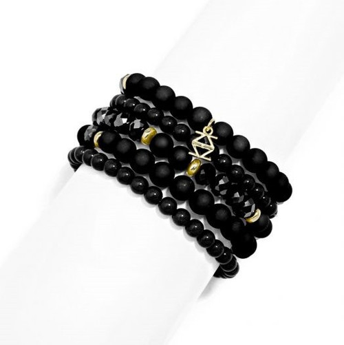Resin Set of 5 Beaded Stretch Bracelets w/ gold tone accents (various colors)