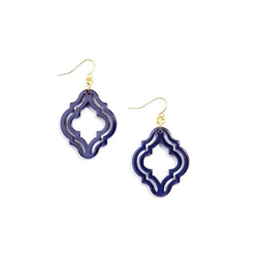 Resin Lattice Style Drop Earrings (various colors)
