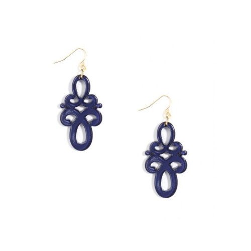 Double Scroll Drop Earring (various colors)