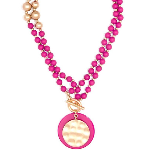 Matte Beaded Necklace w/ Gold & Resin Pendant (various colors)