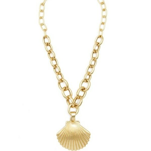 Chunky Chain Collar Necklace Gold Tone Clam Shell Pendant Matte Gold