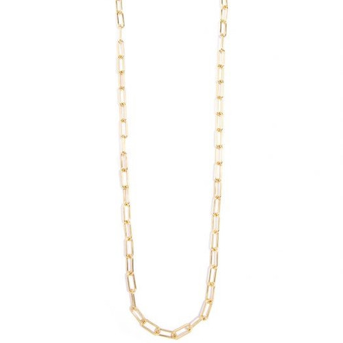18k Gold Plated Link Long Chain Necklace -Matte Gold