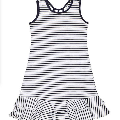 Navy White Stripe Cotton Dress