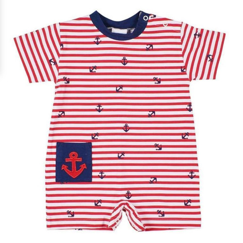Red White Anchor Stripe w/Navy Pocket Shortall