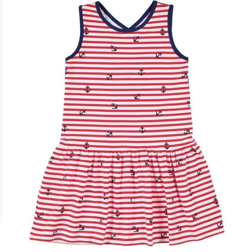 Red White Anchor Stripe Cross Back Dress