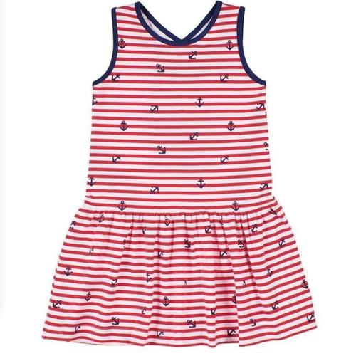 Red White Anchor Stripe Cross Back Dress