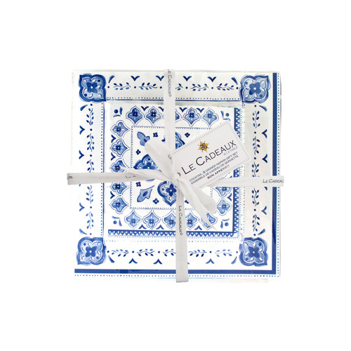 Dinner and Cocktail Napkins Gift Set- Moroccan Blue