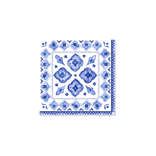 "Patterned Paper Cocktail 10"" x 10"" Napkins- Moroccan Blue"