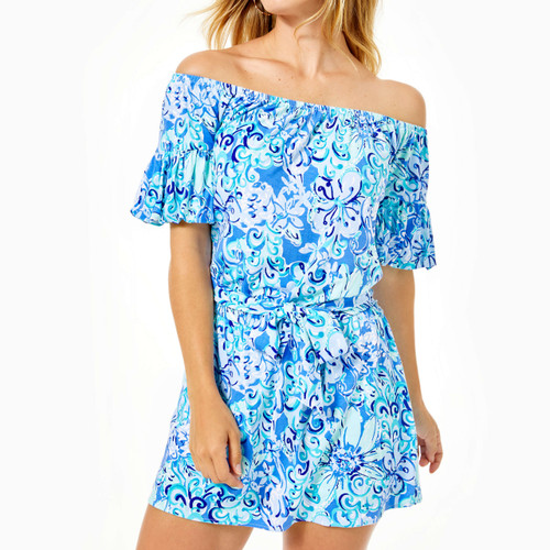 Samia Off-The-Shoulder Romper Saltwater Blue Suns Out Funs Out