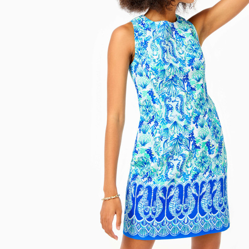 Mila Stretch Shift Sea Glass Aqua Seeing Double Engineered Dress