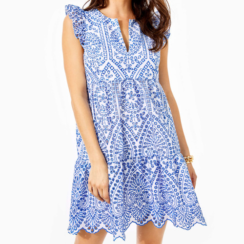 Keila Tunic Dress Bluefin Moroccan Eyelet