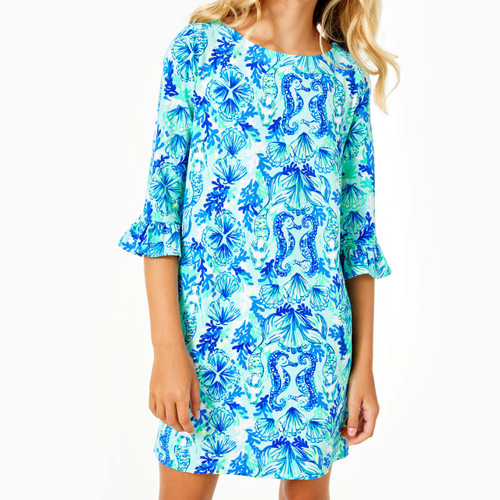 Upf 50+ Mini Sophie Ruffle Dress Sea Glass Aqua Seeing Double