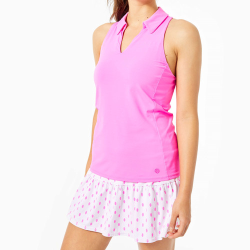 Lakelyn Bra Sleeveless Polo Top UPF 50+  Prosecco Pink