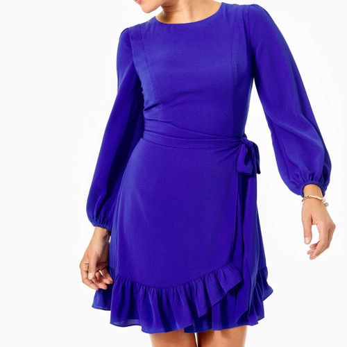 Laren Stretch Wrap Dress Galaxy Blue