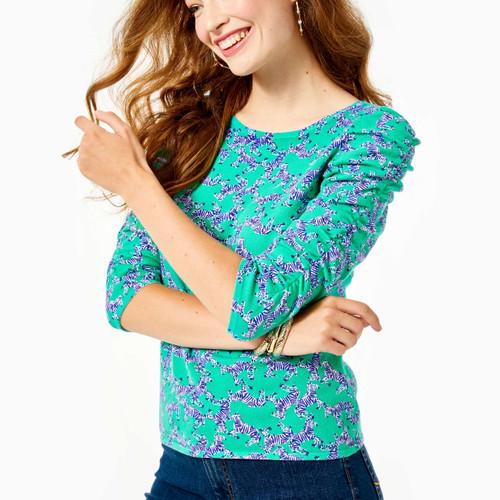 Avanna Ruched Sweater Everglades Green Heebee Zeebees