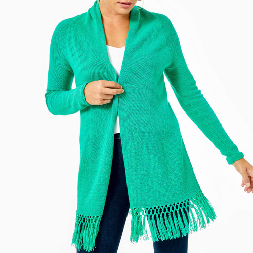 Tatum Long Fringe Hem Cardigan Everglades Green