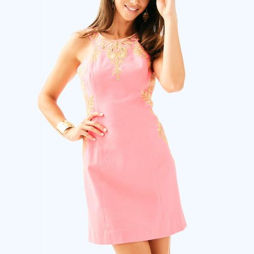 Tina Stretch Shift Dress Coral Sunset