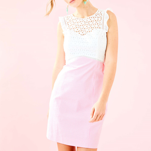 Maya Shift Dress Pink Tropics Seersucker