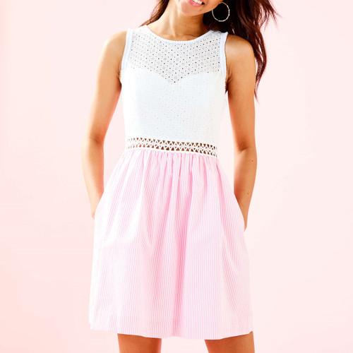 Alivia Dress Havana Pink Yarn Dye Seersucker