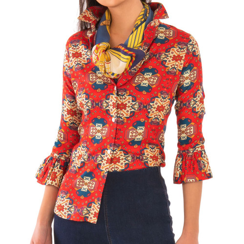 Priss Blouse - Turkey Trot Red