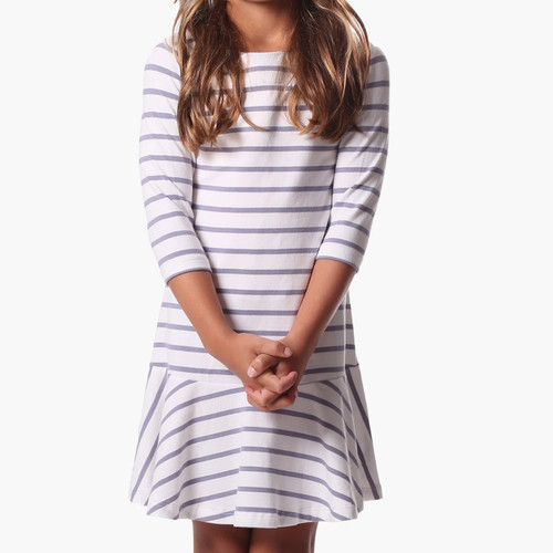 Melissa Dress Silver & White Stripe
