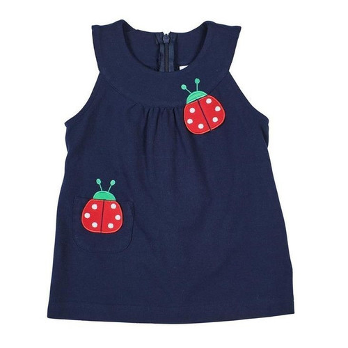 Knit Jumper with Ladybugs  Navy Blue
