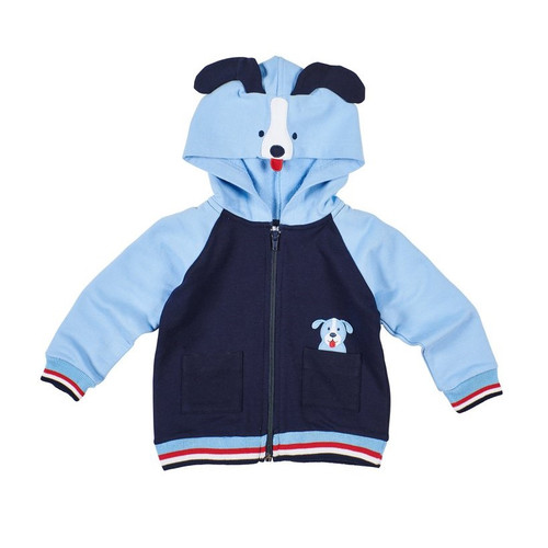 French Terry Hoodie With Dog Hood And Applique   Navy and Medium Blue