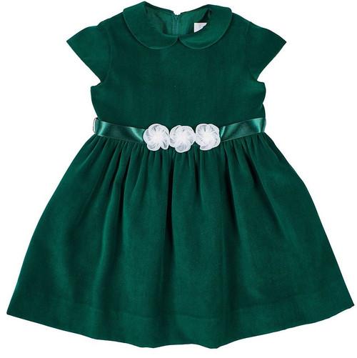 Green Velvet Dress Organza  Flower