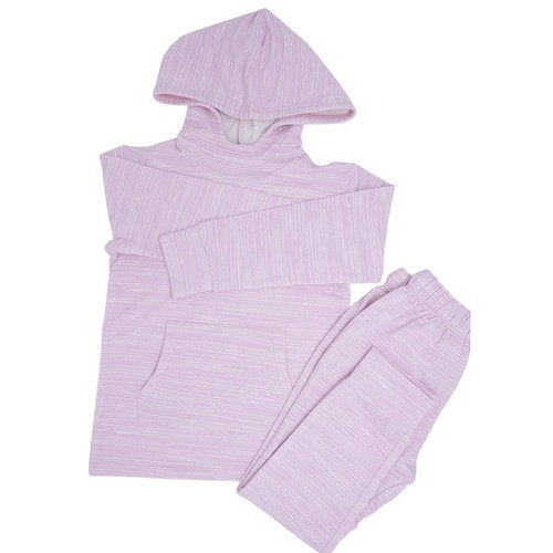 French Terry Jogger Hoodie Set Purple Chalk Lines