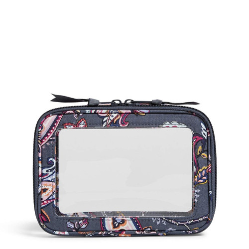 Clear Zip-Around Cosmetic Felicity Paisley