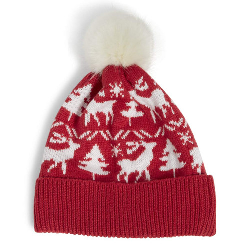 Cozy Hat Reindeer Intarsia Red