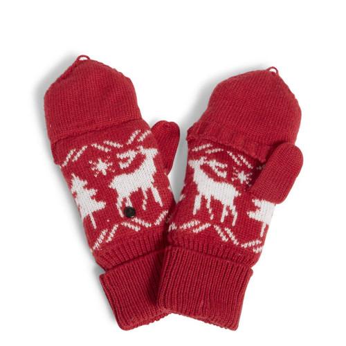 Cozy Convertible Mittens Reindeer Intarsia Red