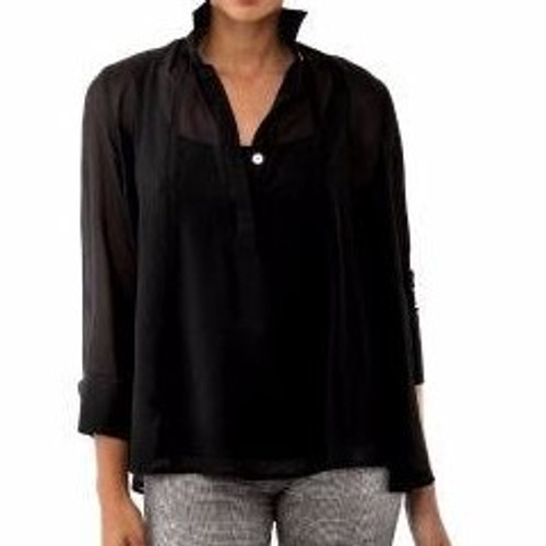 Solid Seamed Top Black
