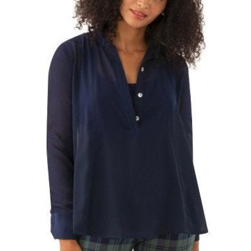 Solid Seamed Top Navy