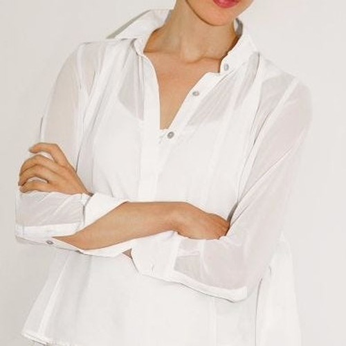 Solid Seamed Top White