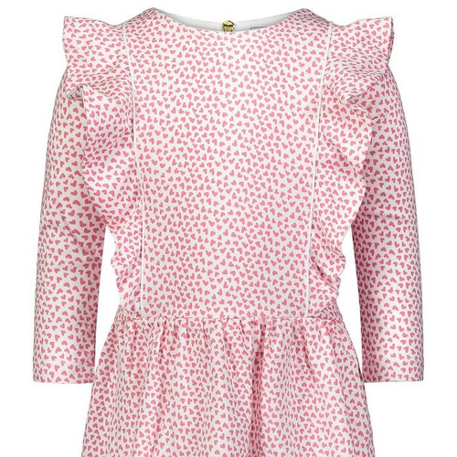 Olivia L/S Dress w/Vertical Ruffles and Piping Hearts Afloat