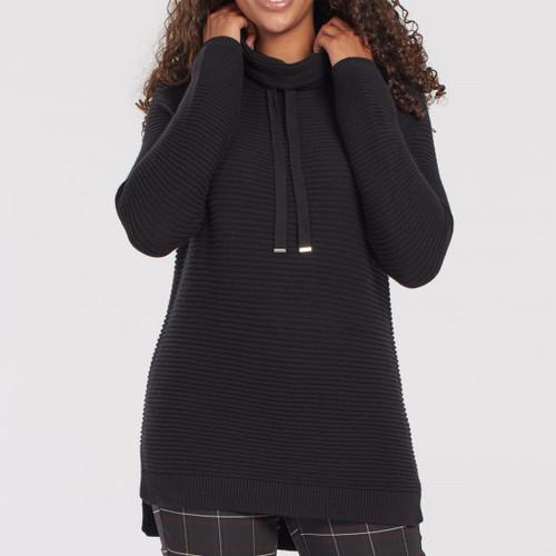 L/S Cowl Nk Sweater Black
