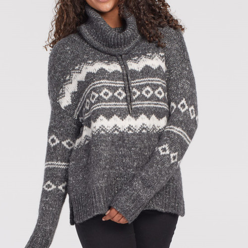 L/S Jacquard Cowl Neck Sweater   H Charcoal