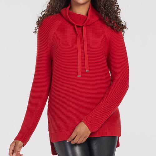 L/S Cowl Neck Sweater  Red Haute