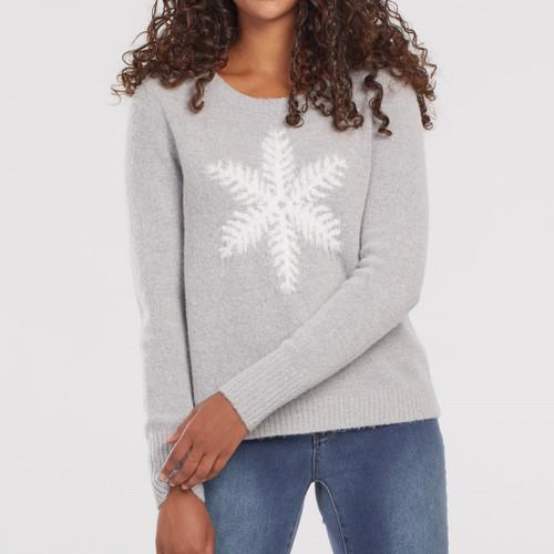 L/S Intarsia Sweater  Grey Mix