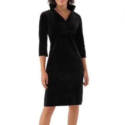 Ruffneck Silky Velvet Black Dress