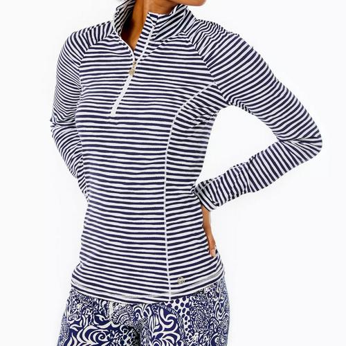 Justine Half Zip Upf 50+  True Navy  Beach Happy Stripe