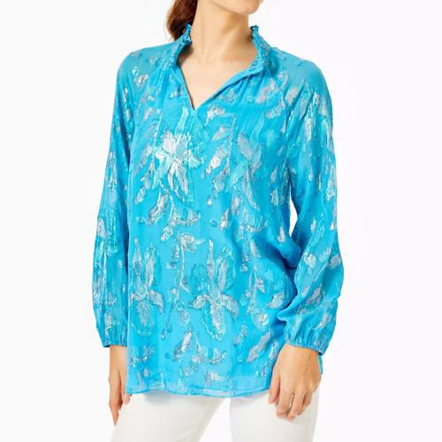 Galiana Silk Top Ocean Breeze Blue Multi Floral Metallic Clip