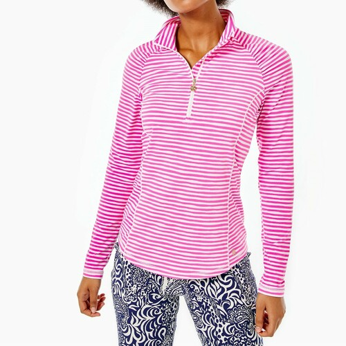 Justine Half Zip  Upf 50+    Cockatoo Pink   Beach Happy Stripe