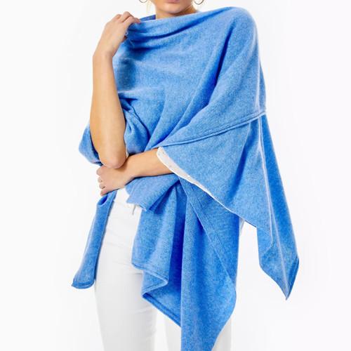 Terri Cashmere Wrap   Heathered Beckon Blue
