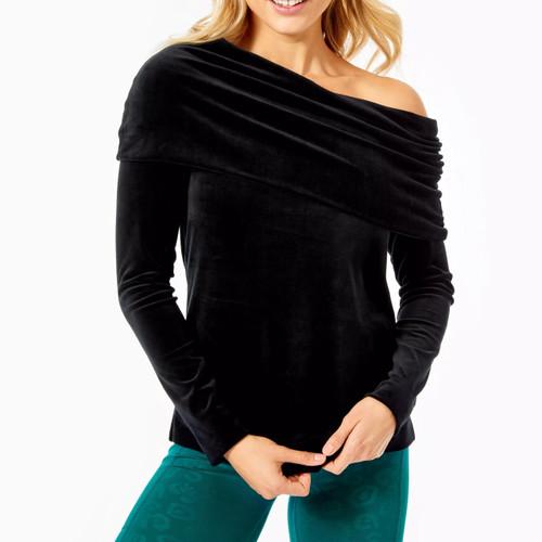 Belinda Velour Sweatshirt   Onyx