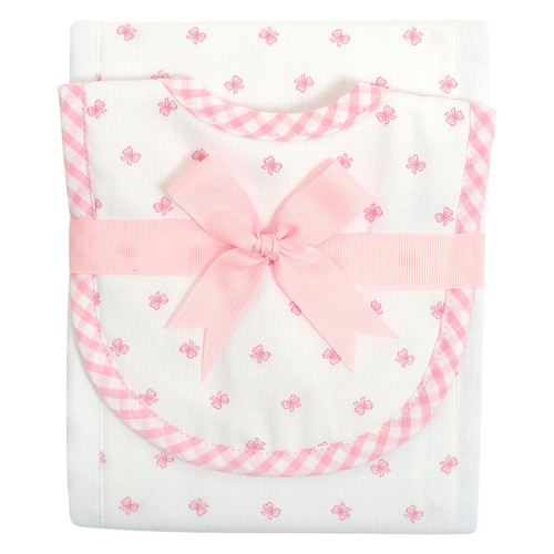 Pink Bow Drooler Bib & Burp Set