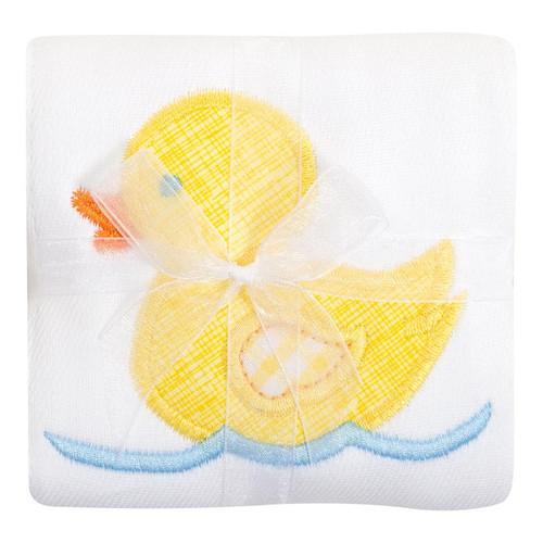 Yellow Duck Appliqued Burp